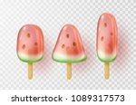 watermelon ice lolly set... | Shutterstock .eps vector #1089317573