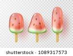 watermelon ice lolly set... | Shutterstock .eps vector #1089317573