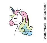 cute unicorn face.vector... | Shutterstock .eps vector #1089325880