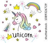 magic cute unicorn  stars on... | Shutterstock .eps vector #1089326729