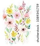 set of watercolor flowers.... | Shutterstock .eps vector #1089341759