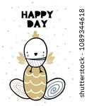 card with lettering happy day... | Shutterstock .eps vector #1089344618
