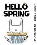 card with lettering hello... | Shutterstock .eps vector #1089345014