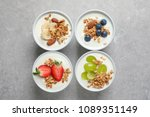 bowls with yogurt  granola and... | Shutterstock . vector #1089351149