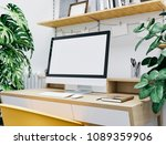 workspace mockup with computer | Shutterstock . vector #1089359906
