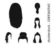 female hairstyle black icons in ... | Shutterstock .eps vector #1089360560