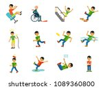 accident icon set. falling from ... | Shutterstock .eps vector #1089360800