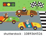 classic old race cars with... | Shutterstock .eps vector #1089364526