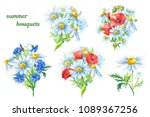 watercolor floral set of... | Shutterstock . vector #1089367256