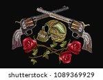 embroidery skull  crossed guns... | Shutterstock .eps vector #1089369929