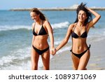 two young women with beautiful... | Shutterstock . vector #1089371069