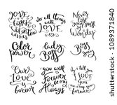 collection of hand written... | Shutterstock . vector #1089371840