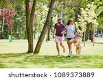 young couple running and... | Shutterstock . vector #1089373889