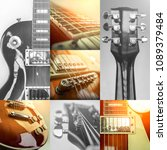 rock guitar. collage of close...   Shutterstock . vector #1089379484