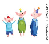 Three Friends Cute Cartoon...