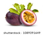 passion fruit with leaf on... | Shutterstock . vector #1089391649