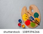wooden palette with colorful... | Shutterstock . vector #1089396266
