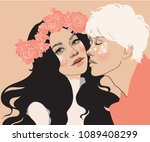 vector beautiful young couple ... | Shutterstock .eps vector #1089408299
