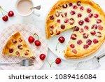 cherry pie with cream filling ... | Shutterstock . vector #1089416084