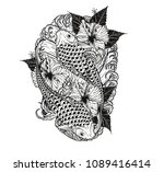 carp fish and flower tattoo by... | Shutterstock .eps vector #1089416414