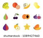 fruit icon set. lemon apple and ... | Shutterstock .eps vector #1089427460