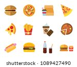 fast food icon set. hot dog on... | Shutterstock .eps vector #1089427490