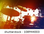 drum set on stage  silhouette | Shutterstock . vector #108944003