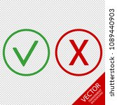 checkmark and x or confirm and... | Shutterstock .eps vector #1089440903