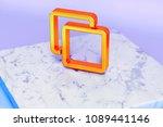 golden clone symbol on blue... | Shutterstock . vector #1089441146