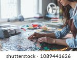 young girl with a mosaic closeup | Shutterstock . vector #1089441626