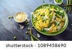 primavera pasta tagliatelle... | Shutterstock . vector #1089458690