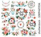 floral graphic set  wreaths ... | Shutterstock .eps vector #1089465536