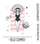 cute girl on the beach  summer... | Shutterstock .eps vector #1089465539