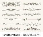 vector set of decorative... | Shutterstock .eps vector #1089468374