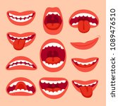 cartoon mouth elements... | Shutterstock .eps vector #1089476510