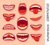 cartoon mouth elements... | Shutterstock .eps vector #1089476510