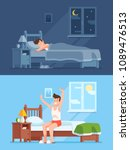 man sleeping under warm duvet... | Shutterstock .eps vector #1089476513