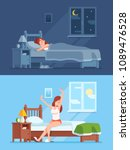 lady peaceful sleeping under... | Shutterstock .eps vector #1089476528