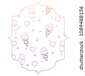 ice cream and hearts pattern  | Shutterstock .eps vector #1089488156