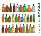 vector set of different bottles ...   Shutterstock .eps vector #1089488744