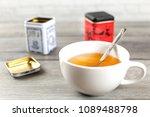 cup of hot black tea  with... | Shutterstock . vector #1089488798