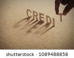 credit wood word on compressed...   Shutterstock . vector #1089488858