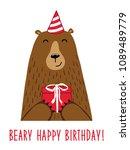 cute birthday greeting card...   Shutterstock .eps vector #1089489779