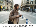 model look woman reading emails ... | Shutterstock . vector #1089491090