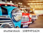 close up of headlights of red... | Shutterstock . vector #1089491624