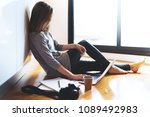 young female banking online on...   Shutterstock . vector #1089492983