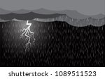 lightning storm  clouds and rain | Shutterstock .eps vector #1089511523