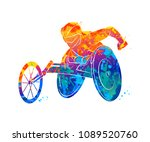abstract athlete on wheelchair... | Shutterstock .eps vector #1089520760