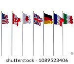 g7 flags isolated  silk waving... | Shutterstock . vector #1089523406