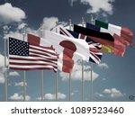 g7 flags silk waving flags of... | Shutterstock . vector #1089523460